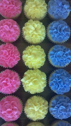 Spring Flower Cupcakes (note to self: decorated using Wilton #104 rose tip)