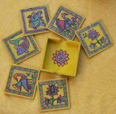 madhubani decor - Google Search Indian Artwork, Indian Folk Art, Indian Paintings, Madhubani Art, Madhubani Painting, Colorful Wall Art, Colorful Drawings, Coaster Art, Tea Coaster