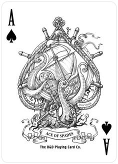#illustration ace of spades drawing painting outline black ink white playing cards boat kraken sea monster