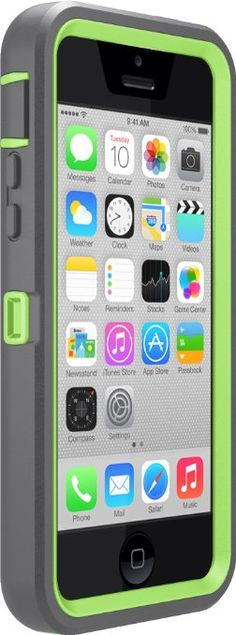 Amazon.com: OtterBox Defender Series Case for Apple iPhone 5c - Frustration-Free Packaging - Cucumber (Apple Green/Slate Grey): Cell Phones ...