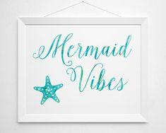 Mermaid Vibes Printable - quote saying modern cool beach beachy surf teen girls surfer girl bedroom bathroom sea ocean white aqua turquoise by BokehEverAfter