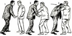 knife1As the knifer raises his blade (fig. 1), parry the blow by striking his forearm with the edge of your own left forearm (fig. 2). Quickly seize his clothing near his right shoulder with your right hand. Then with a strong, but smooth movement, pull his right shoulder toward you while also pushing his right (knife) hand upward and away from your body (fig. 3).