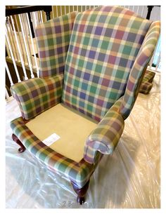 Painted Wing Chair and Update - 2 Bees in a Pod Painting Fabric Furniture, Chalk Paint Chairs, Painted Chairs, Paint Upholstery, Chair Painting, Paint Fabric, Fabric Painting, Wingback Chair Slipcovers, Upholstered Furniture