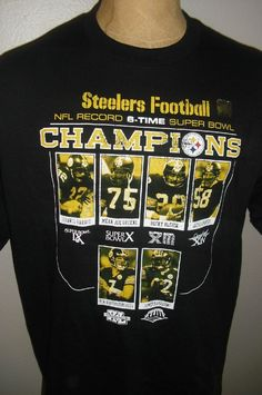 Pittsburgh Steelers 6 Time Super Bowl Champions Shirt Mens L MVPs  Roethlisberger  Reebok  PittsburghSteelers b8d4309f3