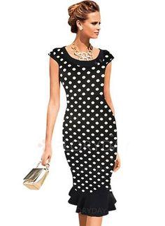 Vestidos de - $44.94 - Algodão Poliéster Bolinhas Manga Muito Curta Altura do Joelho Elegante Vestidos de (1955100188)                                                                                                                                                                                 Mais