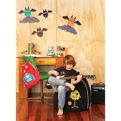 Monster Couture bean bags and wall stickers are so much fun. Kids Bean Bags, Kids Bags, Wallpaper Stickers, Wall Stickers, Room Accessories, Kidsroom, Beautiful Children, Boy Room, Tween