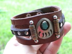Bracelet Buffalo Bison Leather Vintage  Sterling silver Native Indian Navajo made turquoise  Indian Bear Claw customize to size ketoh tribal by BuffaloMen on Etsy