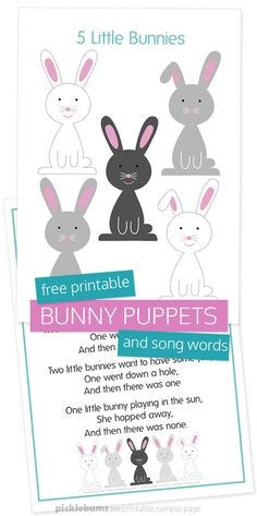 Free printable bunny puppets and song page. Use these bunny puppets for rabbit songs or stories, or as a fun Easter activity. #easter #freeprintables #preschool Easter Activities For Preschool, Circle Time Activities, Infant Activities, Easter Songs For Kids, Preschool Music, Easter Songs For Preschoolers, Preschool Garden, Rabbit Crafts, Bunny Crafts