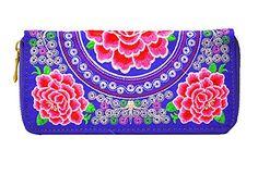 Womdee Im Chinesischen Stil Stickerei Blümchen Lange Clutch Handtasche Reißverschluss Geldbörse, Zufällig Farbe mit Womdee Accessorie