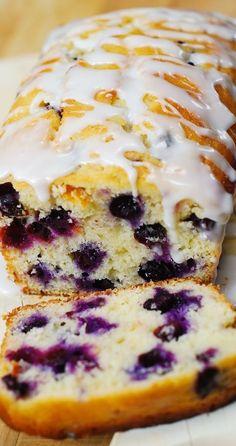Lemon blueberry bread - Blueberry lemon bread with lemon glaze blueberries bread lemon summer glaze breakfast breakfastbread Lemon Desserts, Köstliche Desserts, Delicious Desserts, Dessert Recipes, Yummy Food, Dessert Bread, Non Dairy Desserts, Plated Desserts, Def Not