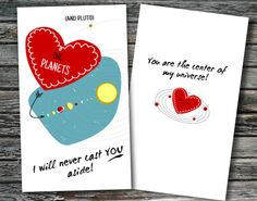 Science themed valentine cards