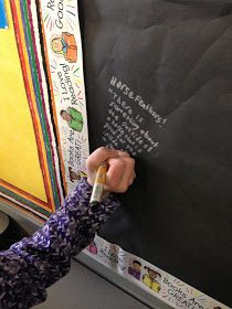Reading graffiti. Students write a quote from a book they are reading with metallic sharpies on black paper