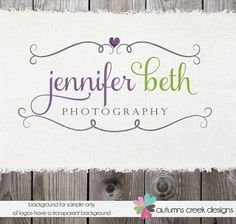 Premade Photography Logo - Swirls and Heart Logo and Watermark Design Name Text Logo
