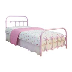 The Lindsay Twin bed is a classic antique-designed bed made of cast iron and steel in a fun pink color. This adorable bed is easy to clean and uses standard twin-size mattresses.