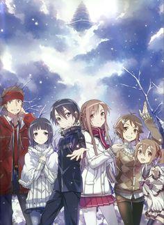 Klein, Sachi, Kirito, Asuna, Liz and Silica