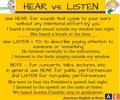"""HEAR vs LISTEN in English #learnenglish """""""