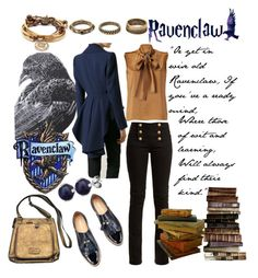 """""""Ravenclaw Outfit"""" by lazyninja-832 on Polyvore featuring Alberta Ferretti, Balmain, Forever 21 and Lizzy James"""