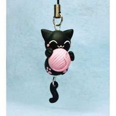 keychain & Mobile Accessories Cat & Ball of Yarn Exclusive handmade