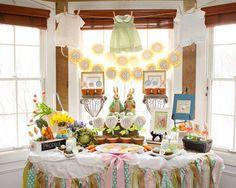 Hermosa #decoración para un #baby shower inspirada en el conejo de #pascua