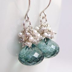 Earrings, Teal Quartz Seed Pearl Sterling Silver Gemstone Cluster Handmade
