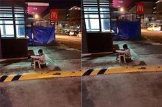 As imagens emocionaram o mundo ao mostrarem uma criança, sem-teto, usando a luz de um restaurante do McDonald's para conseguir enxergar a lição de casa.