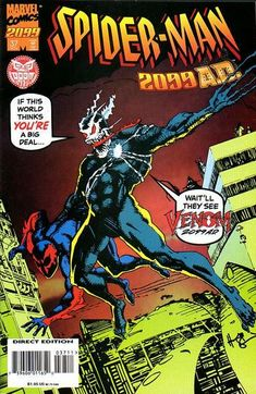 Drawing Marvel Spider-Man 2099 November 1995 Marvel Comics Grade NM - Script by Peter David, pencils by Andrew Wildman, inks by Stephen Baskerville. Cover art by Howard Chaykin is an homage to the cover of Amazing Fantasy Marvel 2099, Marvel Dc Comics, Marvel Heroes, Marvel Art, Marvel Comic Books, Marvel Characters, Siper Man, Amazing Fantasy 15, Dc Anime
