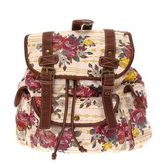 <P>This pretty floral backpack is perfect for carrying all your books to school. The bag has been designed on a natural background with bright floral and Aztec printeddesign. The bag features faux leather brown straps and edging with a buckle front and 3 buttoned pockets. </P><UL><LI>Drawstring & snap buckle closure</LI><LI>Brown faux leather detail</LI><LI>Adjustable straps</LI><LI>3 front button pockets</LI><LI>1 internal zipped pocket</LI></UL>