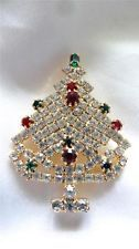 Vintage Rhinestone Crystal Clear Ruby Red Emerald Green Xmas Tree Brooch Pin