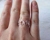 Love Ring Any Size Wire Word Ring Silver Wire Wrap Ring Mothers Gift Girlfriend Gift Friendship Ring New Mom Jewelry Gifts Under 10