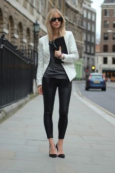 white leather jacket, gray slub tee, leather leggings.... really thinking I need some leather leggings this year...