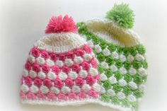 (4) Name: 'Crocheting : Beanie with horizontal clusters