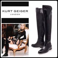 """🌟HP🌟🔸FALL PREVIEW🔸BLACK WELL RIDING BOOT This patent leather over the knee boots simply screams style. Featuring patent leather, they're the height of sophistication. Wear with a pair of dark blue jeans, silk blouse and a structured blazer for the must have a look of the season. Measurements: Heel height 1"""". Shaft height 21.5"""" KURT GEIGER Shoes Over the Knee Boots"""