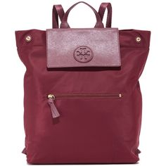 Tory Burch Ella Packable Backpack ($225) ❤ liked on Polyvore featuring bags, backpacks, tory burch, purple backpack, rucksack bags, knapsack bag and purple bags