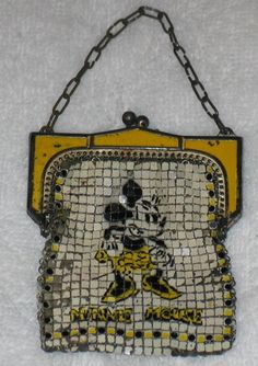 Whiting Davis Walt Disney Minnie Mouse Mesh Purse w Link Chain Handle Vintage Purses, Vintage Bags, Vintage Handbags, Mickey Mouse, Childrens Purses, Disney Purse, Purses And Handbags, Coin Purses, Vintage Disneyland