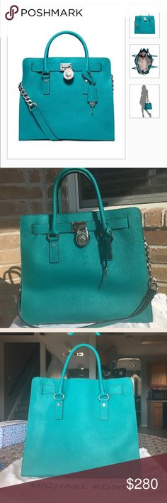 Michael Kors Hamilton Beautiful large Michael Kors Hamilton Saffiano Bag in Tile Blue with silver hardware. No scratches, marks or wear at all. Used it only once!!! Impeccable condition!!! Comes with dust bag. Please let me know if u have any questions. Michael Kors Bags Shoulder Bags