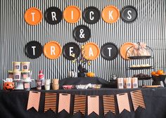 "How to Throw A ""Tricks and Treats"" Halloween Party with easy treat ideas and cheap decoration ideas"