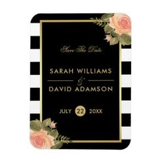 Pink Watercolor Rose Black Stripes Save The Date Magnet Savethedate