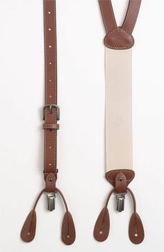 $95, Brown Leather Suspenders: Trafalgar Wyoming Suspenders. Sold by Nordstrom. Click for more info: https://lookastic.com/men/shop_items/13404/redirect