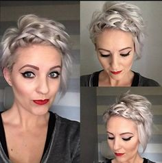 10 Adorable Short Hairstyle Ideas 2020 Short Hairstyles with Braid Bangs - Stylish Hair Color Designs for Women Short Hair 2017 Short Hair Updo, Braids For Short Hair, Cute Hairstyles For Short Hair, Pixie Hairstyles, Pixie Haircut, Short Hair Cuts, Braided Hairstyles, Curly Hair Styles, Pixie Updo