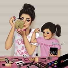 Me and my Daughter MyWorld, My Life ( Racquel ) Mother Daughter Art, Mother Art, Mother And Child, Sarra Art, Girly M, Girly Drawings, Hard Drawings, Cute Cartoon Girl, Illustration Mode