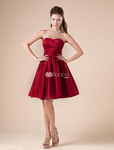 Claret Sweetheart Taffeta Knee Length Womens Bridesmaid Dress. Short and sassy dresses like this one are a fun and flirty take on traditional bridesmaid dresses. It features a pretty wrapped texture and a sweetheart neckline on a fashionable strapless bodice. The A-line skirt is full an.. . See More Bridesmaid Dresses at http://www.ourgreatshop.com/Bridesmaid-Dresses-C926.aspx @Samantha Street