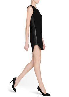 Leather appliqués crepé dress >> Mango