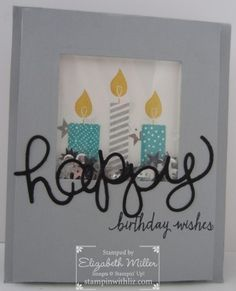 Shaker birthday card. Stampin Up Build a Birthday stamp set