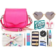 Purse by heathersunshine on Polyvore featuring Rebecca Minkoff, Wildfox, 1928, Glam Bands, Maybelline and PhunkeeTree