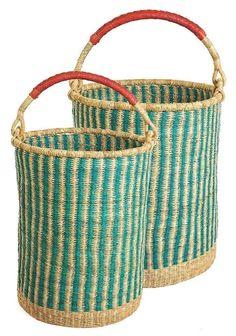 Aqua Stripe Set of 2 Bolga Storage Baskets with Handles | Ghana Fair Trade