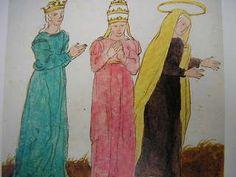 Me llamó la atención un cuadro colgado al final de la estancia. En él se representaba muy probablemente a la Virgen María y tras ella una mujer que parecía portar la tiara papal.