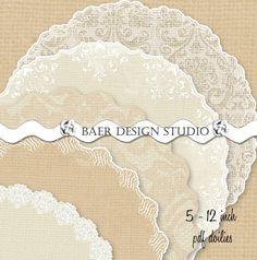 "Sale-Champagne Burlap and LACE Digital DOILIES- printable doilies, 12"" pdf printable doily, Printable Ivory Burlap Doily, Cake Plate Liner by BaerDesignStudio on Etsy https://www.etsy.com/listing/219456008/sale-champagne-burlap-and-lace-digital"