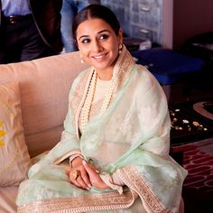 Vidya Balan in a gorgeous mint floral sari by Sabyasachi. Shop with us for the most important person in your life - your mother. Bridelan - a personal wedding shopper & stylist. Website www.bridelan.com #Bridelan