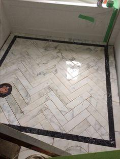 idea for ensuite // Meredith Heron Design Bespoke marble herringbone floor Main Bathroom