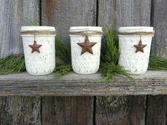 Mason jars, twine, metal stars, paint